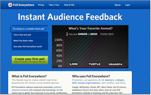 Poll Anywhere - Interactive lecture tool